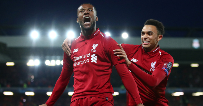 Georginio Wijnaldum Anfield Celebrates Liverpool Barcelona - Liverpool midfield star not feeling the pressure ahead of Spurs clash