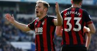 BRIGHTON, ENGLAND - APRIL 13: Ryan Fraser of AFC Bournemouth celebrates after scoring his team's second goal during the Premier League match between Brighton & Hove Albion and AFC Bournemouth at American Express Community Stadium on April 13, 2019 in Brighton, United Kingdom. (Photo by Charlie Crowhurst/Getty Images)