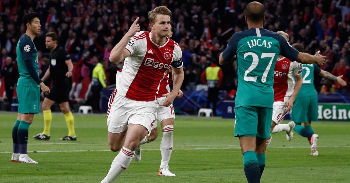 Matthijs De Ligt Celebrates Opening Goal Ajax Tottenham1 - Matthijs De Ligt says Man Utd rumour annoyed him