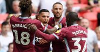 LONDON, ENGLAND - MAY 27: Anwar El Ghazi of Aston Villa celebrates with his teammates after he scores his sides first goal during the Sky Bet Championship Play-off Final match between Aston Villa and Derby County at Wembley Stadium on May 27, 2019 in London, United Kingdom. (Photo by Mike Hewitt/Getty Images)