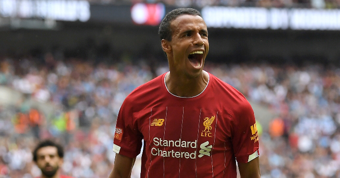 Joel Matip Celebrates Liverpool Equaliser Community Shield Wembley Man City - Liverpool harbour 'major' Gomez concerns after injury on England duty