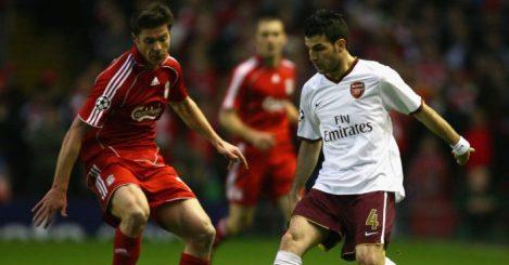 Xabi Alonso Cesc Fabregas Liverpool Arsenal