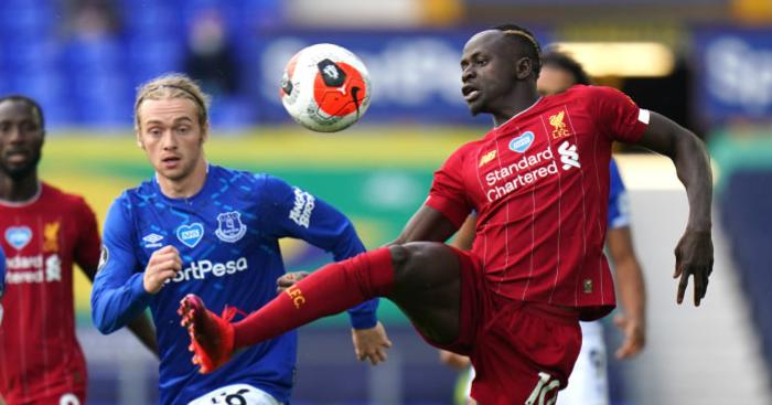 Tom Davies Sadio Mane Everton v Liverpool