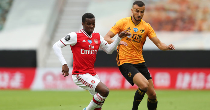 nketiah 1 - Saka helps secure vital win for Arsenal at Wolves with maiden Prem goal