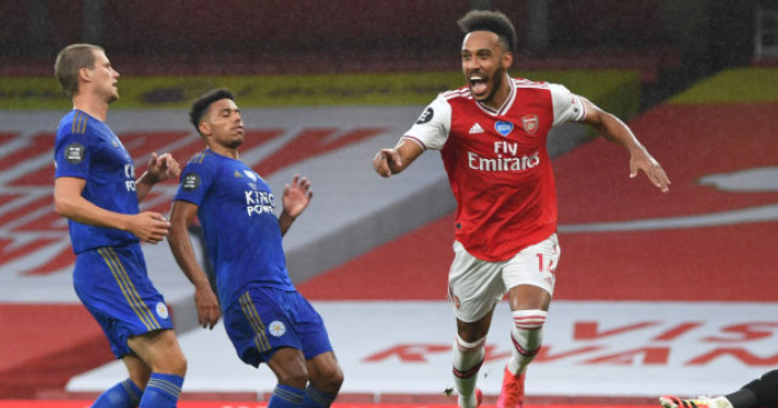 Aubameyang Arsenal Getty - Leicester peg Arsenal back after rapid fire Nketiah red costs Gunners