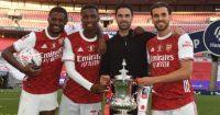 Ainsley Maitland-Niles, Eddie Nketiah, Mikel Arteta, Dani Ceballos Arsenal