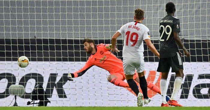 Luuk de Jong, David de Gea, Aaron Wan-Bissaka Man Utd Sevilla