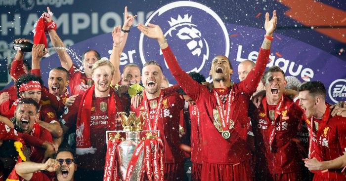Jordan Henderson Vigil van Dijk celebrate Liverpool title 1 - Klopp points vicious finger at Lampard over Chelsea spending tactics