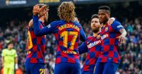 Ansu Fati, Antoine Griezmann, Lionel Messi, Sergi Roberto