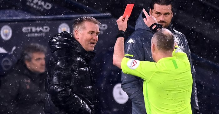 Dean Smith sent off red card