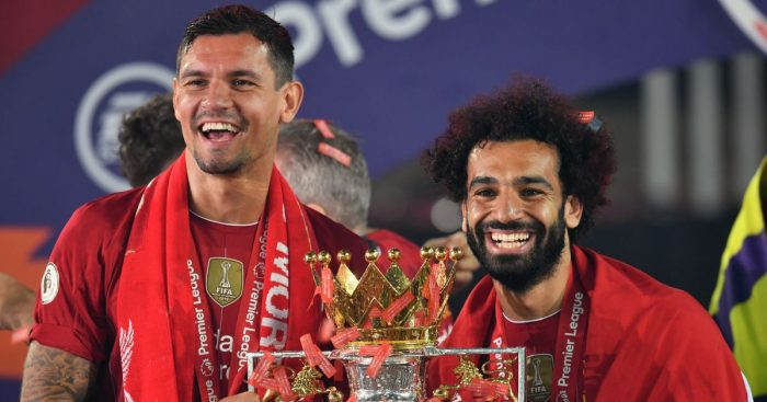 Dejan Lovren, Mohamed Salah Premier League trophy