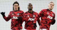 Edinson Cavani, Paul Pogba and Donny Van de Beek in Man Utd training