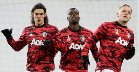 Edinson Cavani, Paul Pogba and Donny Van de Beek of Man Utd