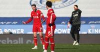 Jordan Henderson, Mohamed Salah, Alisson Becker Leicester v Liverpool February 2021
