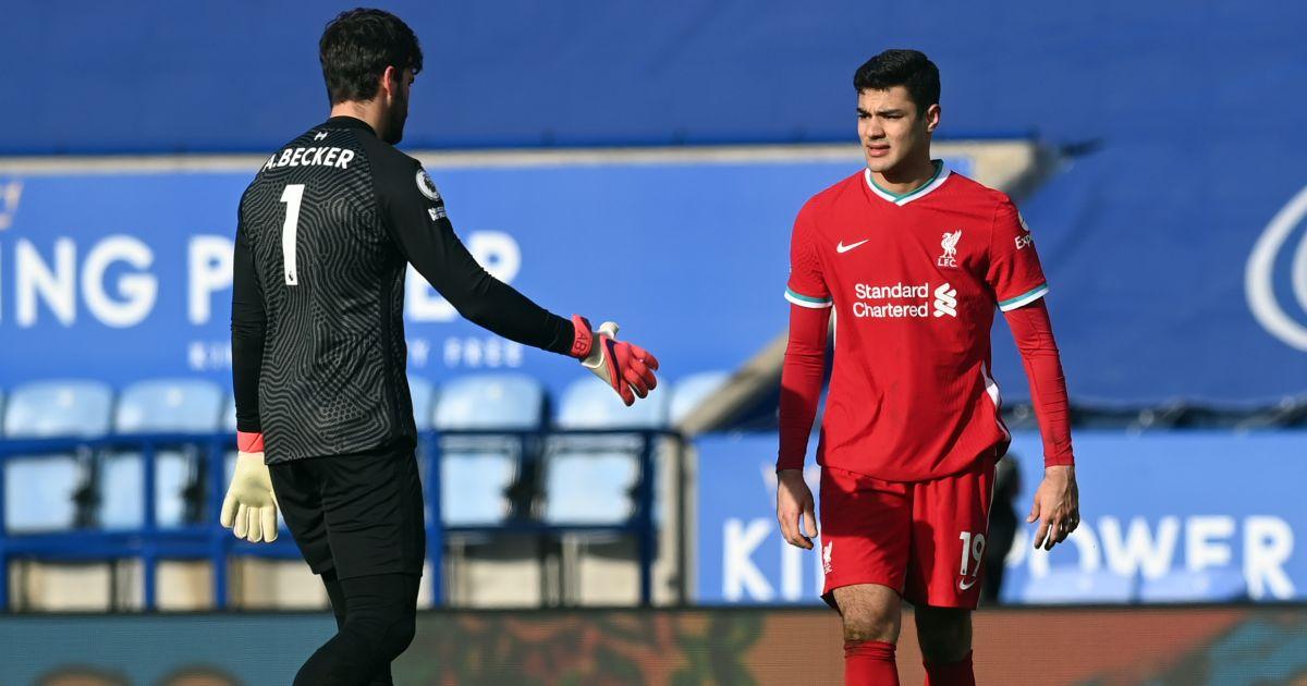 Alisson Becker, Ozan Kabak Leicester v Liverpool February 2021