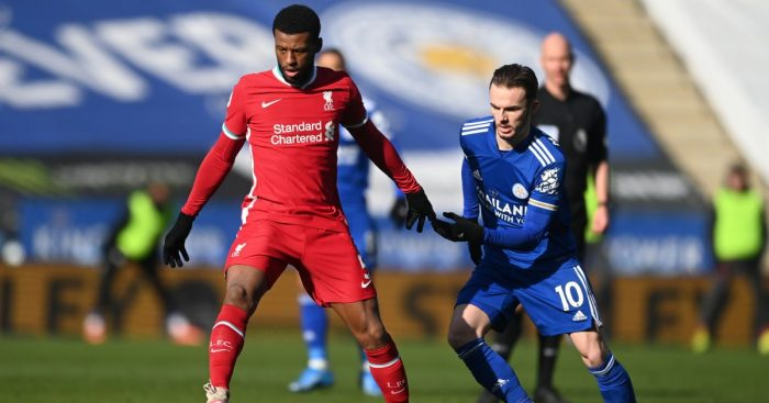 Georginio Wijnaldum, James Maddison Leicester v Liverpool February 2021