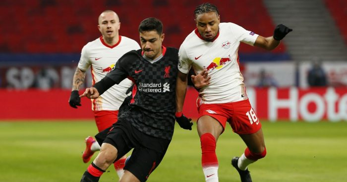 Ozan Kabak, Christopher Nkunku RB Leipzig v Liverpool February 2021