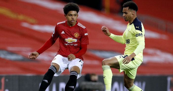 Shola Shoretire, Jacob Murphy Man Utd v Newcastle February 2021
