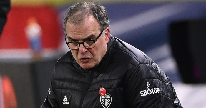 Marcelo Bielsa Leeds manager touchline crouch