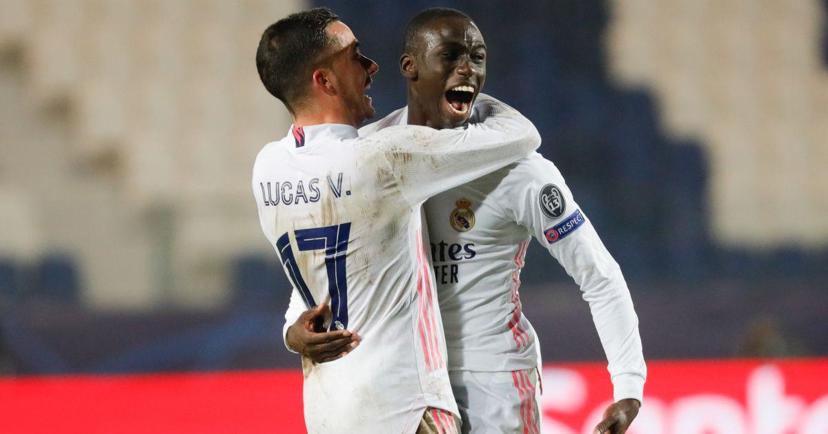 Lucas Vazquez, Ferland Mendy Atalanta v Real Madrid February 2021