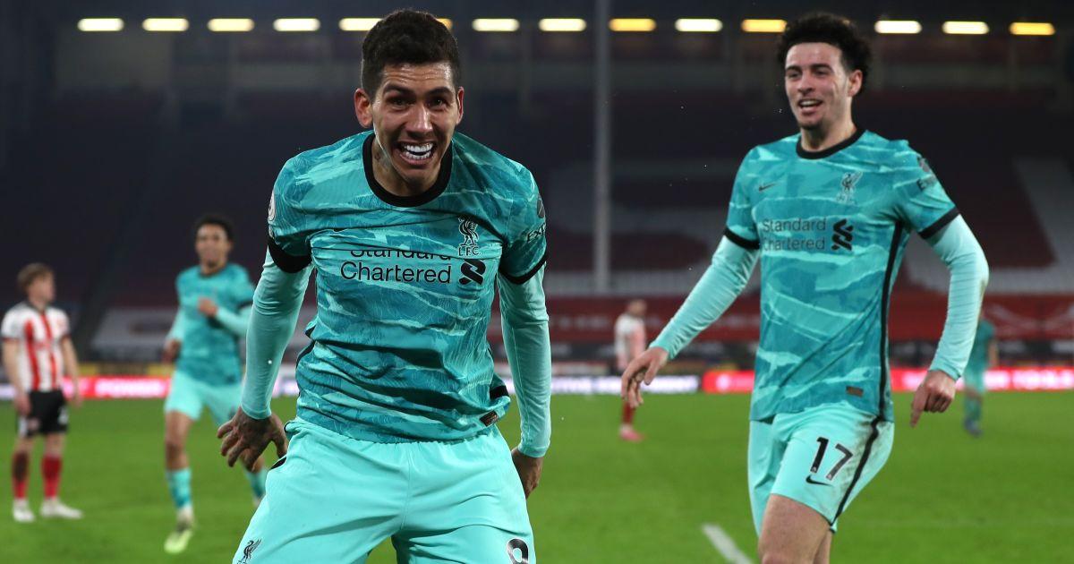 Roberto Firmino, Curtis Jones Sheff Utd v Liverpool February 2021