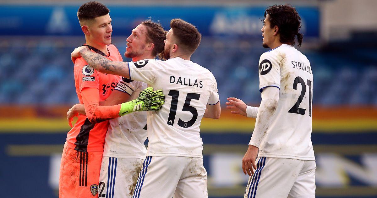 Illan Meslier, Stuart Dallas, Pascal Struijk Leeds v Burnley December 2020