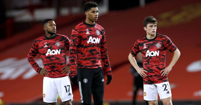 Fred, Marcus Rashford, Daniel James Man Utd v Newcastle February 2021
