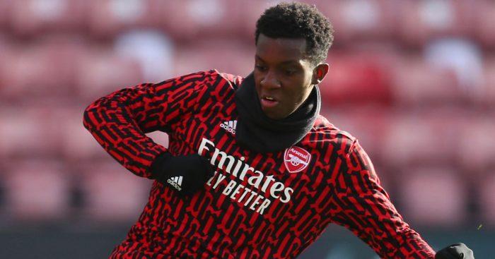 Eddie Nketiah Arsenal warm up