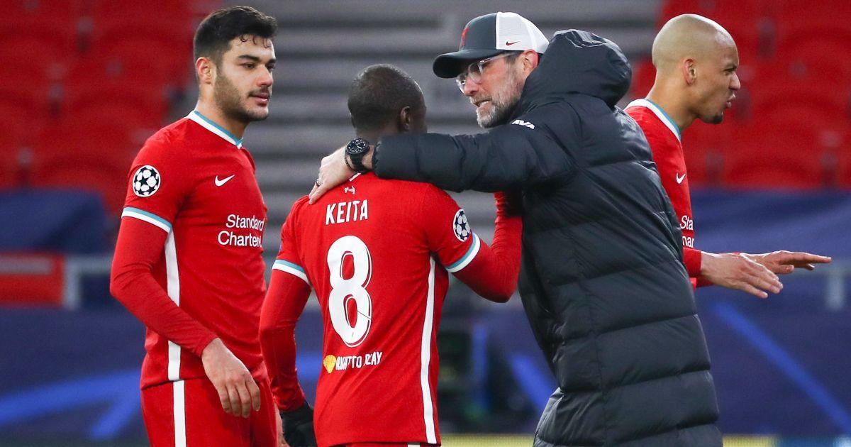 Ozan Kabak, Naby Keita, Jurgen Klopp, Fabinho Liverpool v RB Leipzig March 2021