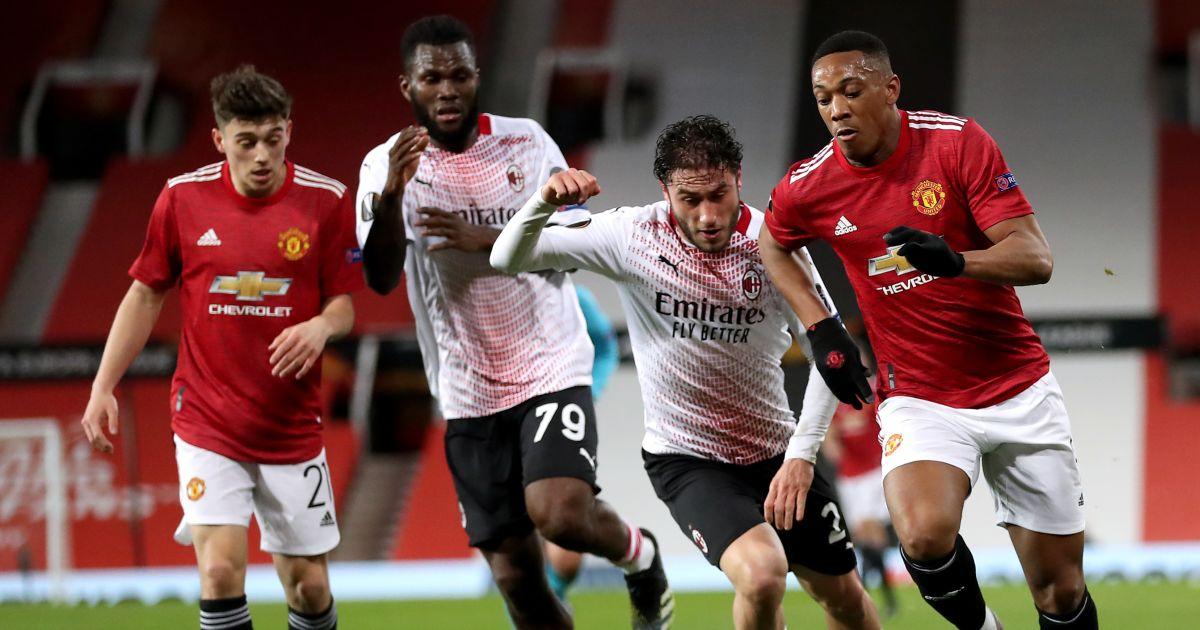 Davide Calabria, Anthony Martial battle for ball, Man Utd v AC Milan