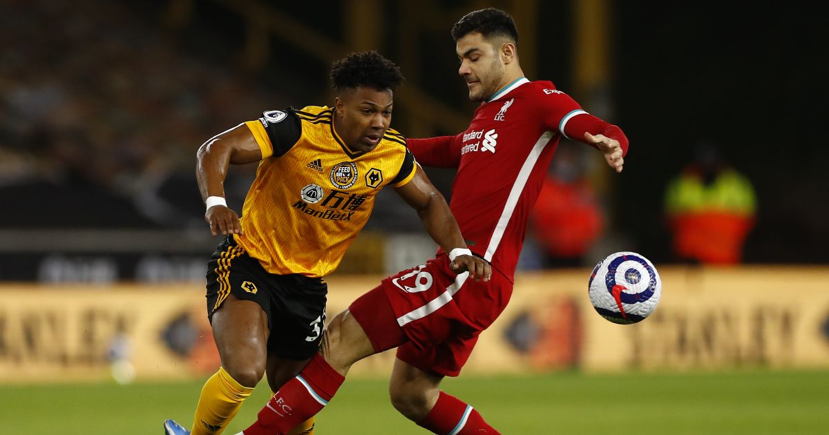 Adama Traore, Ozan Kabak Wolves v Liverpool March 2021