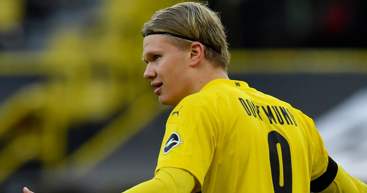 Erling Haaland celebrates Dortmund goal