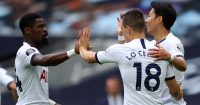 Serge Aurier, Giovani Lo Celso, Son Heung-min Tottenham v Leicester July 2020