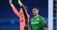 Illan Meslier, Emiliano Martinez Leeds v Aston Villa March 2021