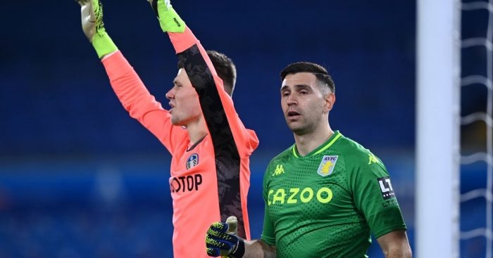 Illan Meslier, Emiliano Martinez Leeds v Aston Villa March 2021