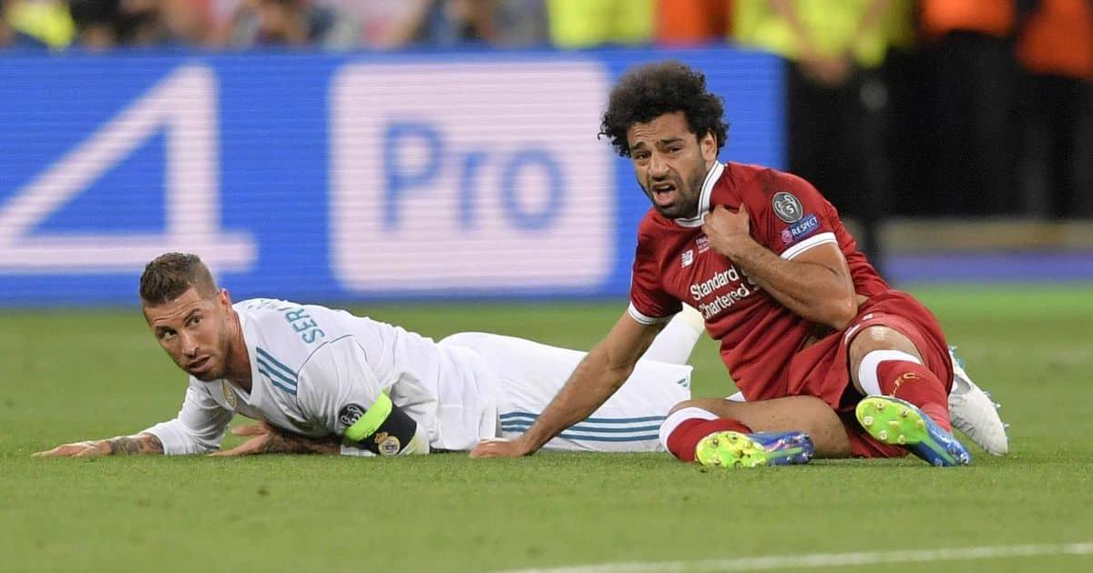 Sergio Ramos, Mohamed Salah Real Madrid v Liverpool Champions League final 2018