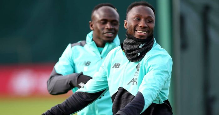 Sadio Mane, Naby Keita, Liverpool training