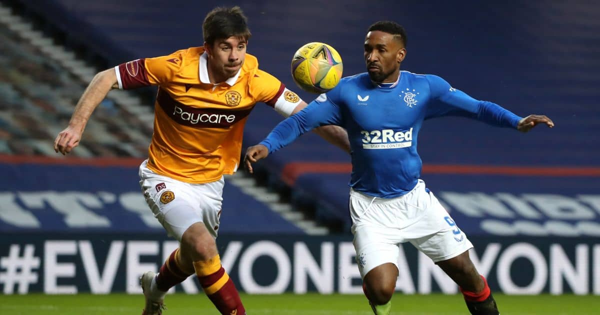 Declan Gallagher, Jermaine Defoe Rangers v Motherwell December 2020