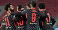 Curtis Jones, Mohamed Salah, Roberto Firmino RB Leipzig v Liverpool February 2021