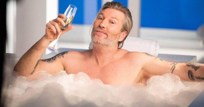 Robbie Savage in the bath