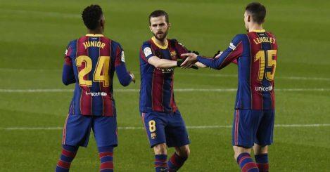 Miralem Pjanic, Junior Firpo, Clement Lenglet Barcelona v Eibar December 2020