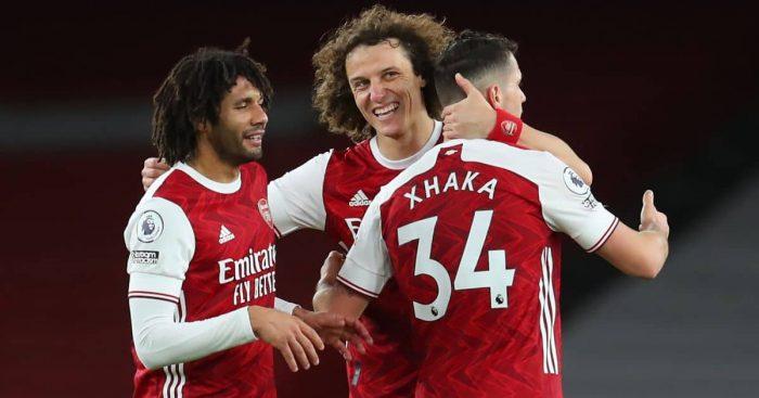 Mohamed Elneny, David Luiz, Granit Xhaka Arsenal v Newcastle January 2021
