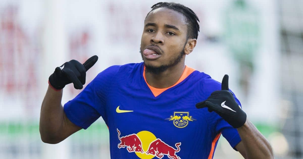 Christopher Nkunku celebrates RB Leipzig goal