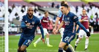 Alexandre Lacazette, Gabriel Martinelli West Ham v Arsenal March 2021