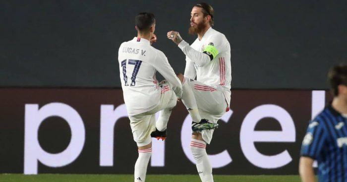 Lucas Vazquez, Sergio Ramos Real Madrid v Atalanta March 2021