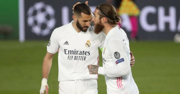 Sergio Ramos, Karim Benzema Real Madrid v Atalanta March 2021