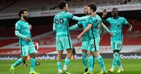 Trent Alexander-Arnold, Mohamed Salah, Diogo Jota Arsenal v Liverpool April 2021