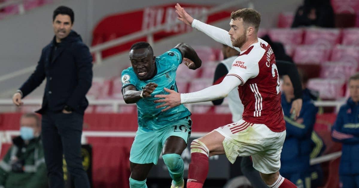 Mikel Arteta, Sadio Mane, Calum Chambers Arsenal v Liverpool April 2021