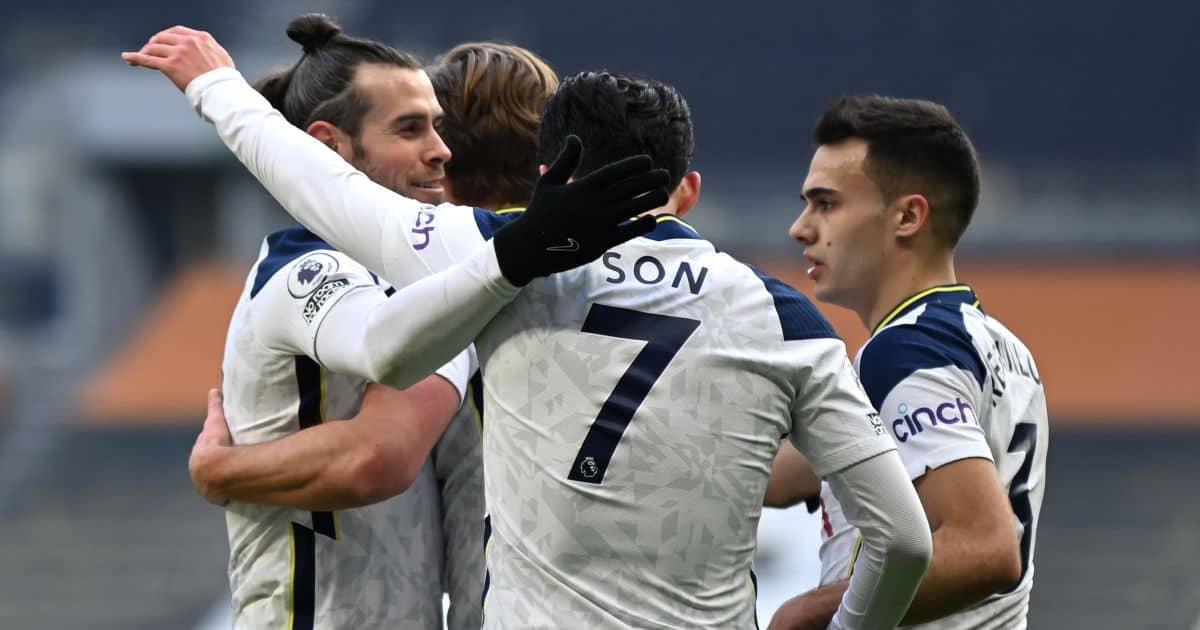 Son Heung-min, Gareth Bale, Sergio Reguilon Tottenham v Burnley February 2021