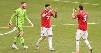 David de Gea, Victor Lindelof, Nemanja Matic Man Utd July 2020